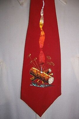 vintage mens ties 1940's hand painted most rare beautie with glitter fire log