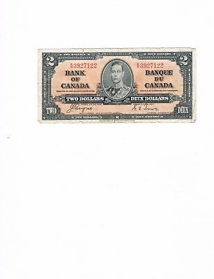 1937 Bank of Canada 2 Dollar Note Two Dollar Bill Coyne/Towers Good  ER3927122