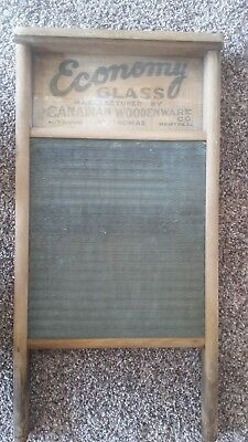 Vintage/Antique Economy Glass Canadian Woodenware Co Wood Glass Wash Board