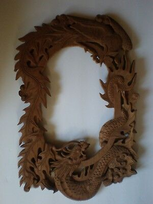 Antique VTG Chinese Carved Wood Mirror Picture Frame Dragon Bird Floral