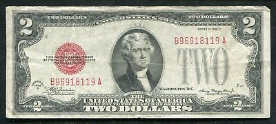 1928-D $2 Mule Red Seal Legal Tender United States Note Scarce (C)