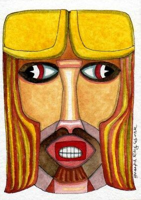 "ACEO Original ""Portrait in Yellow"" by Joseph Ray York (3.5x2.5in.)"