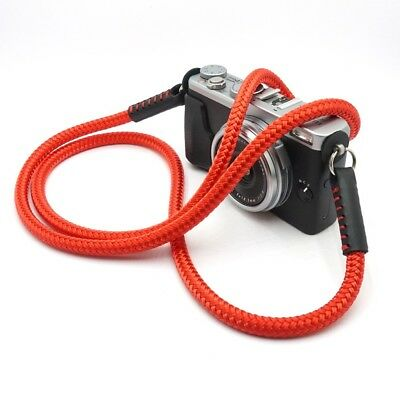 Silky Cord / Rope & Leather Camera Neck Strap 54in/137cm, Handmade by Cordweaver