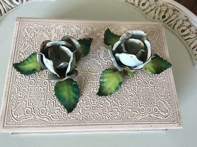 Vintage Pair Italian Blue Rose Candle Holders Hand Painted Metal Chic Toleware