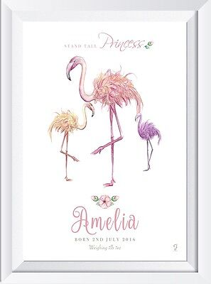 Personalised baby name new child flamingo gift print picture  nursery wallart