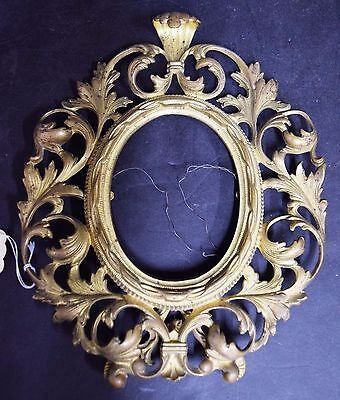 Antique Victorian Brass Easel Table Top Oval Picture Frame 11x9 for 5x9 Photo