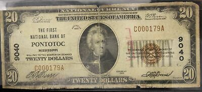 1929 First National Bank of Pontotoc Mississippi Twenty Dollar Note Serial #179