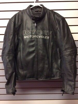 Mens Blk Leather Victory Jacket