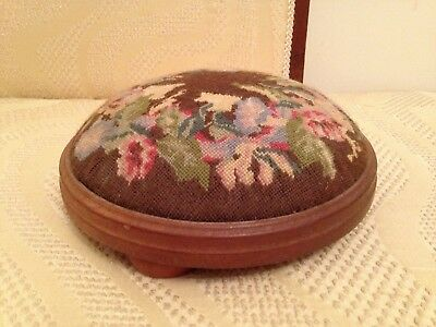 Antique Floral Tapestry Small Circular Stool Foot Rest