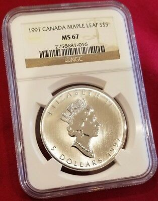 1997 Canada Maple Leaf 5 Dollar .9999 Pure Silver (Hard To Find) Ngc Cert Ms67