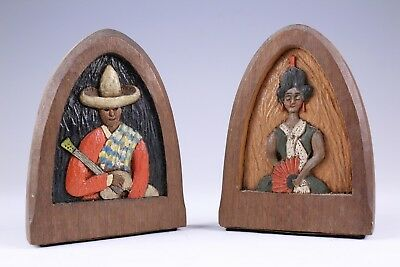 Vintage Hand Carved Wood Book Ends Mexican Characters No Reserve