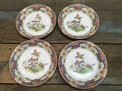 Vintage Set Of 4 Bowls Shelly China England Old Sèvres #10678, RD 648812, Birds