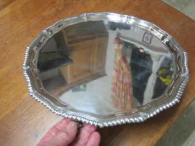Old Circular Antique Victorian Sheffield Style Silver Plated Tray c1900