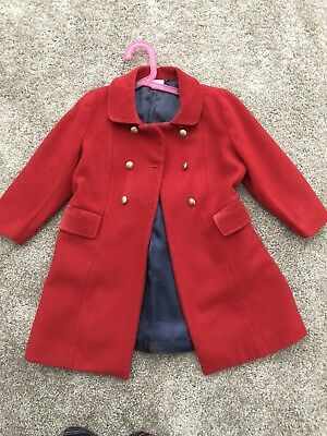 Crewcuts JCrew Girls Red Wool Peacoat Coat Jacket Sz 6-7t