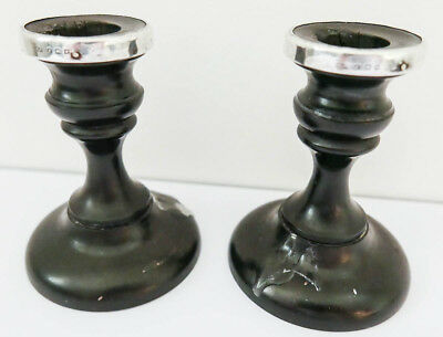 1879 Antique Decorative Ebony Wood & Hallmarked Silver Candlesticks G Condition