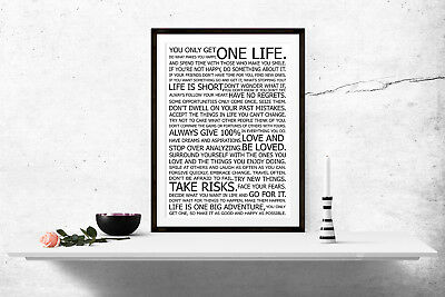 Life Manifest Print Poster Quote Wall Art A4 A5 A6 A3 Motivational  - 1051
