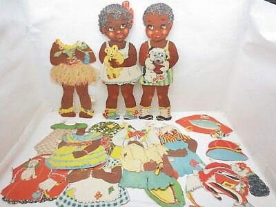 """Antique 1937 Black Americana Paper Dolls Petunia Patches Outfits 17"""" Tall Lot"""