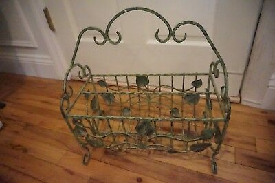 Shabby Metal Distressed Green Leaf Magazine Stand Holder
