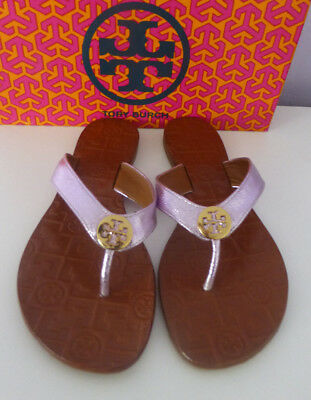 56e3df7465f TORY BURCH THORA Flip Flop Thong Sandals Metallic Rosa Leather Gold Size 8  New
