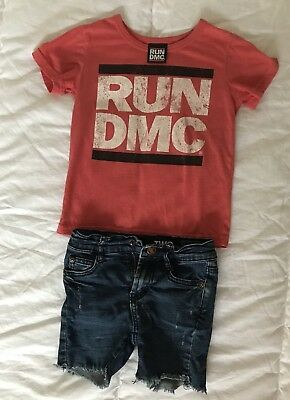 Cotton On Kids Run DMC Tee + Denim Shorts Size 3 / 2