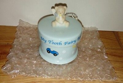 Russ Porcelain Teddy Bear Trinket Box - My Tooth Fairy Box - Blue For Baby Boys