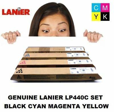 Genuine Lanier LP440C Black Cyan Magenta Yellow 4 Toner Set 820068/69/70/71