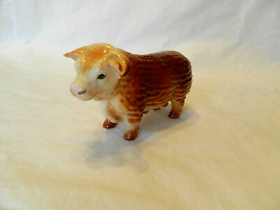 Vintage Ceramic Cow Hereford Bull Figurine Norcrest - Made in Japan