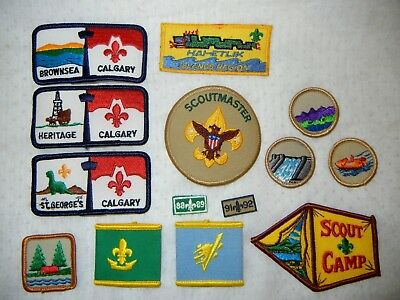 BOY SCOUT BSA LOT of  PATCHES WOGGLE X FOURTEEN (14) SCOUTS CANADA & USA