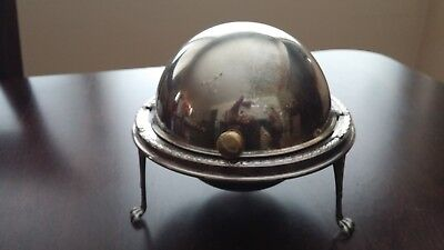 Antique MADE IN ENGLAND silverplate butter dish with glass insert