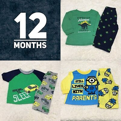 Boys Pajama Set, Size 12 Months, Lot Of 3