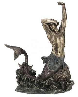"11.5"" Merman Stretching on Rock Statue Male Mermaid Fantasy Nautical Sculpture"