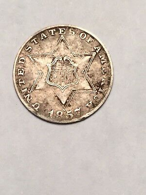 1857 Silver Three Cent Piece