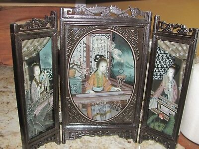 VINTAGE CHINESE EXPORT REVERSE GLASS PAINTING 3 PANEL SCREEN REPUBLIC of CHINA