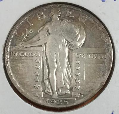 1925 US Standing LIBERTY SILVER Quarter! Very Fine! Old US Coins!