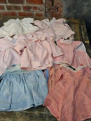 Little Girl Dress Apron Lot Antique Feed Flour Sack Some Hand Sewn