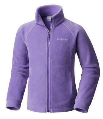COLUMBIA FLEECE Girl's L 14-16 Full-Zip PURPLE Soft & Thick JACKET in EUC!