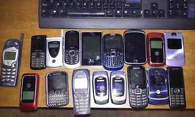 Lot of 17 Cellphones w/ batteries and chargers