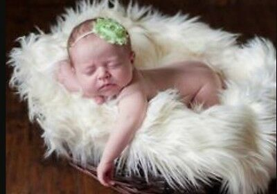 """Faux Fur 20""""x20""""  Off white, Newborn photo props blanket size photography!!"""