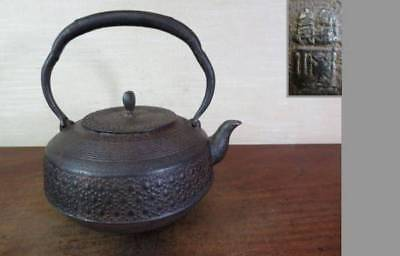 Japanese Antique KANJI old Iron Tea Kettle Tetsubin teapot Chagama 2387