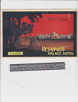 Vintage Heliopolis Palace Hotel Cairo Luggage Label / Ad Rate Card