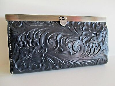 Patricia Nash Tooled ROSE Italian Leather Cauchy Navy Blue  Wallet NWOT