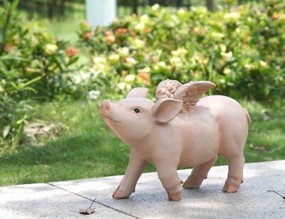 Pig When Pigs Fly Walking Pig With Wings Statue Home Garden Decor Free Ship