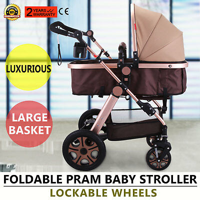 Foldable Pram Baby Stroller Carriage Infant Adjustable Large Basket Good Updated