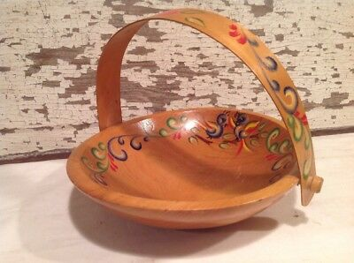 Vintage Wooden Bowl/Basket With Hand Painted Rosemaling