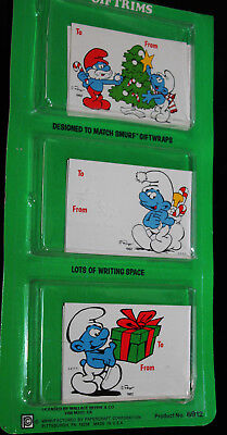 Vintage 1982 Smurfs Christmas Gift Tags Unopened Package 3 Designs Papercraft