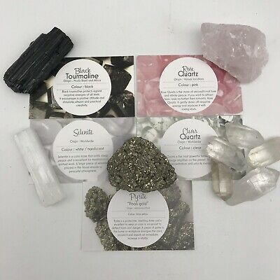Crystal Gift Set #3 - Tourmaline, Pyrite, Selenite, Rose Quartz & Clear Quartz