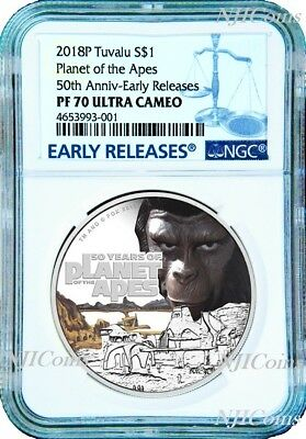 2018 Planet of the Apes 50th Anniversary SILVER PROOF $1 1oz COIN NGC PF70 UC ER