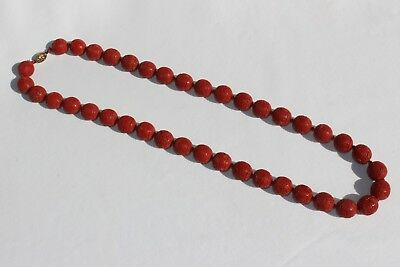 Old Chinese Finely Carved Cinnabar Necklace Large Shou Longevity Beads