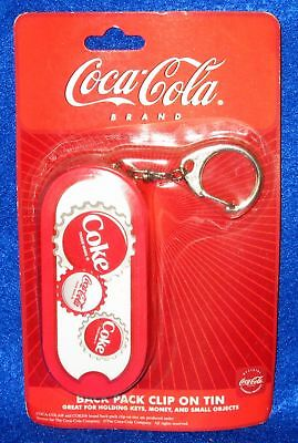 Coca Cola Coke Backpack Bag Clip On Tin Keychain Money Coin Holder New