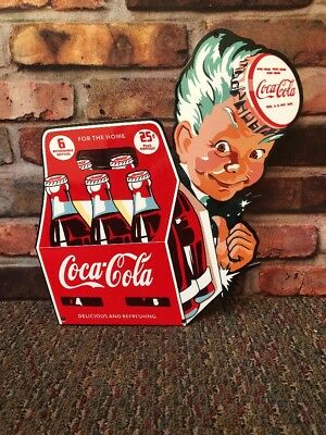 "Coca Cola Boy 6 Pack Of Bottles 25 Cents 11"" Metal Soda Pop Gas Oil Sign"